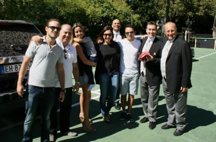 F1 drive Felipe Massa with part of the staff of Hotel de la Ville Monza
